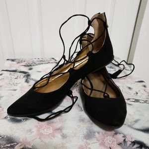 7M bcbg black ballet flats with tie up ankles